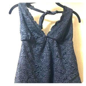 Black Crochet Tankini Swimsuit Top
